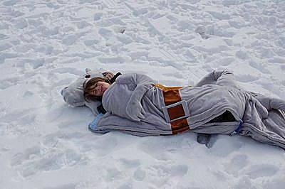 Se ha ido a la nieve para hacerse esta foto